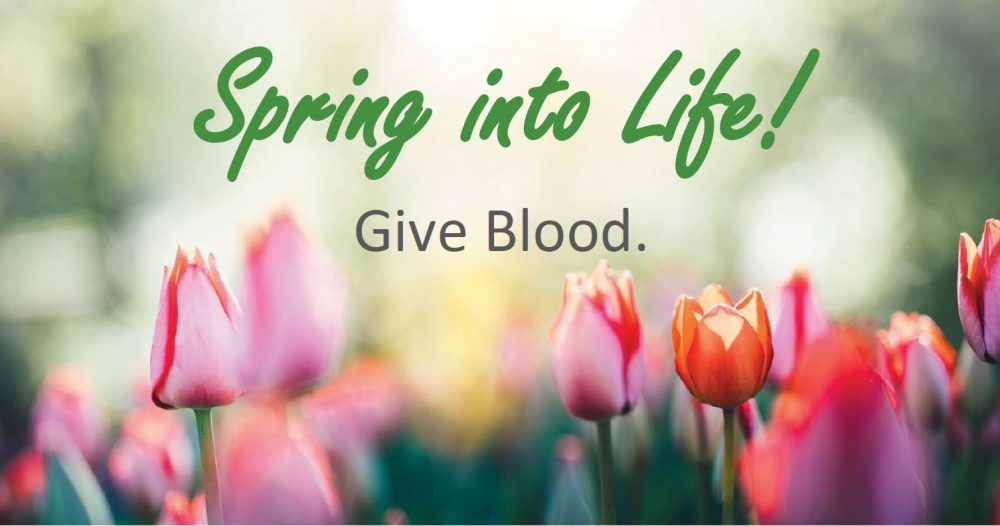 Spring Into Life - red cross blood drive
